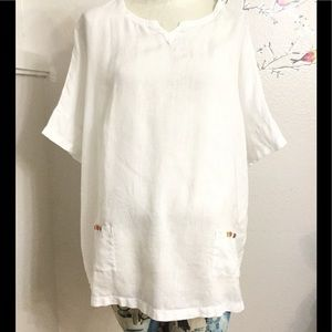 Vivid White Linen Tunic Loose Short Sleeve Top